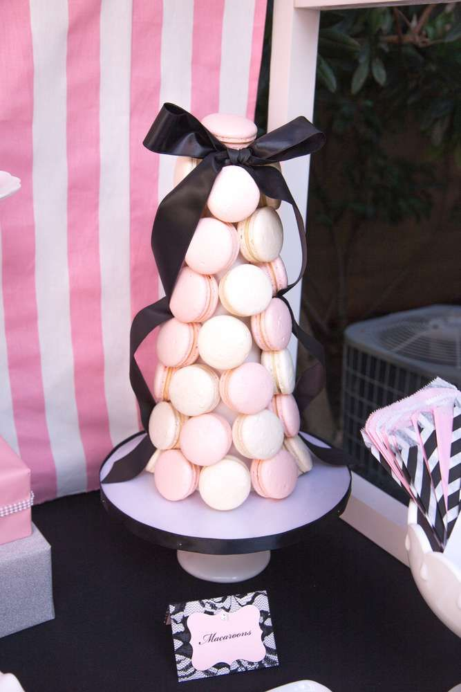 Macaron tower at a Paris birthday party! See more party planning ideas at CatchMyParty.com!