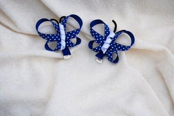 Par de 2 pinzas de pelo pequeña mariposa azul por cutiepatoody