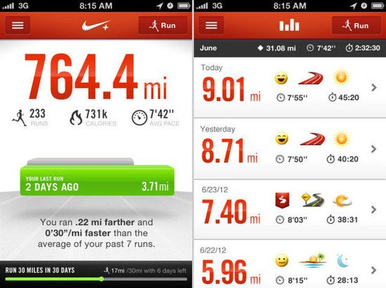 Nike+ Running: One of the most popular of the bunch is Nike+ Running (free); it keeps track of your pace, the distance traveled, calories burned, and also maps out the route you've completed. Syncing your run to the Nike+ website lets you track your goals and find top routes in your area.