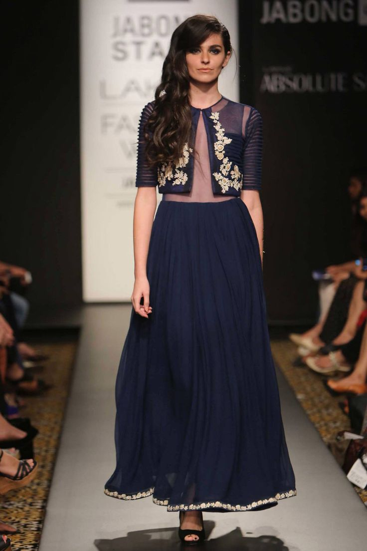 Blue sheer bodice anarkali with embroidered jacket available only at Pernia's Pop-Up Shop.