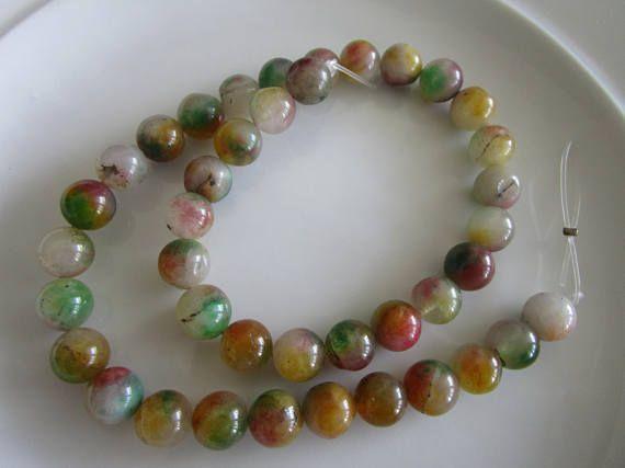 Multi color agate gemstone bead 40  agate beads  10mm