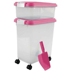 "IRIS Combo Food Storage Container with Scoop, 10.8"" W x 16.5"" D x 18.6"" H, Mulitple Colors Available $26"