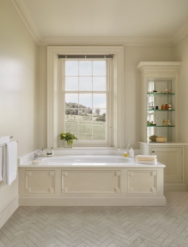 Create a truly indulgent bathroom with calming neutral shades and bespoke fitted furniture #Smallbone
