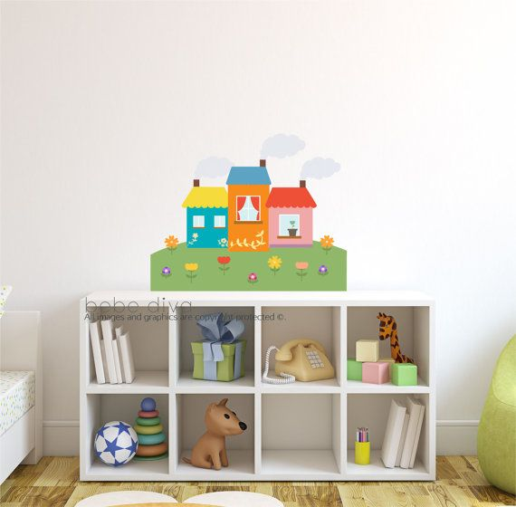 Houses, Nursery Wall Decals, Wall Decals Nursery, City scene, wall stickers, vinyl, nursery, kids, wall decal, City Wall Decals