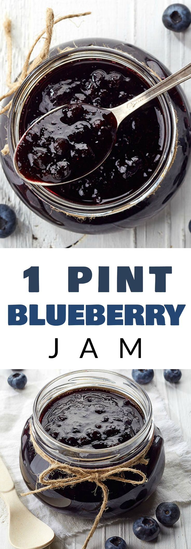 HOMEMADE Blueberry Jam made from 1 pint of blueberries! This easy to make no pectin, no sugar recipe is perfect for eating and canning. This healthy jam is delicious served over toast, pancakes, french toast and ice cream!