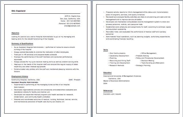 hospital administration resume