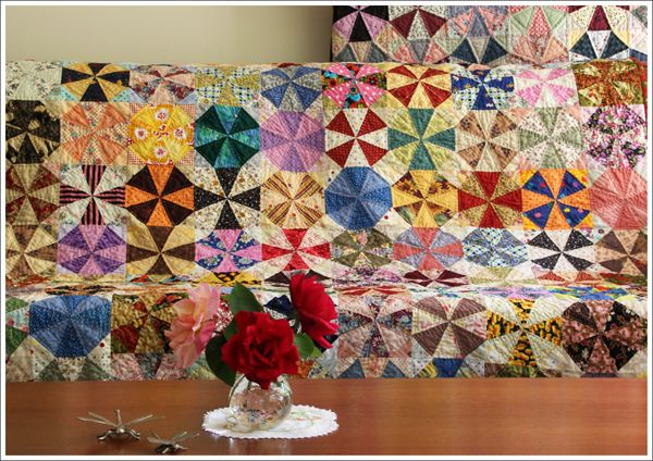 Kaleidoscope quilts are great stash busters. This one is perfect for those who love to stitch by hand. You can download our Free Templates to trace at  http://patchworkbliss.com/free-patterns/