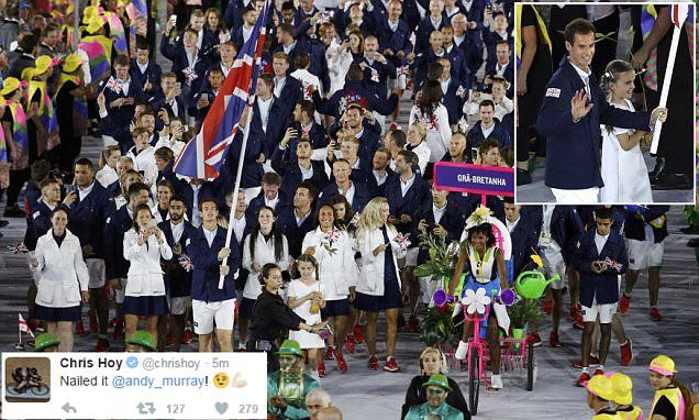 Andy Murray leads out Team GB and parades Union Flag one-handed in Rio