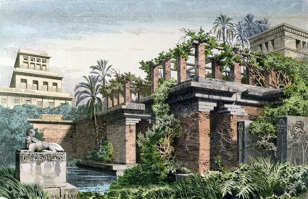 Old: The Hanging Gardens of Babylon, Iraq  Color lithograph by Ferdinand Knab/The Bridgeman Art Library/Getty Images  