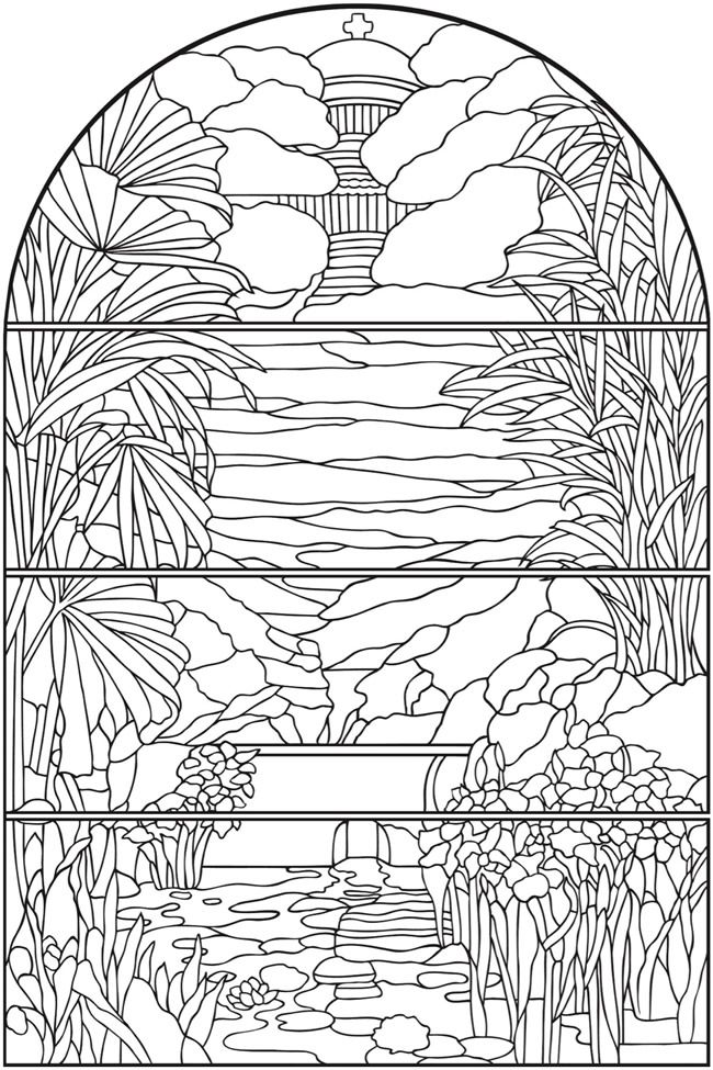 Creative Haven Magnificent Tiffany Windows Coloring Book