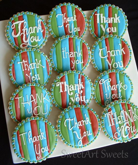 Thank You cookies  1 dozen by SweetArtSweets on Etsy, $42.00
