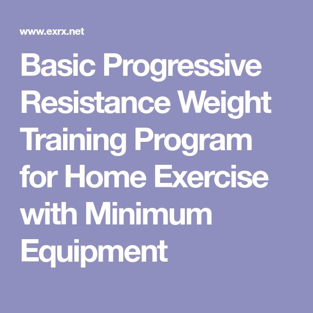 Basic Progressive Resistance Weight Training Program for Home Exercise with Minimum Equipment