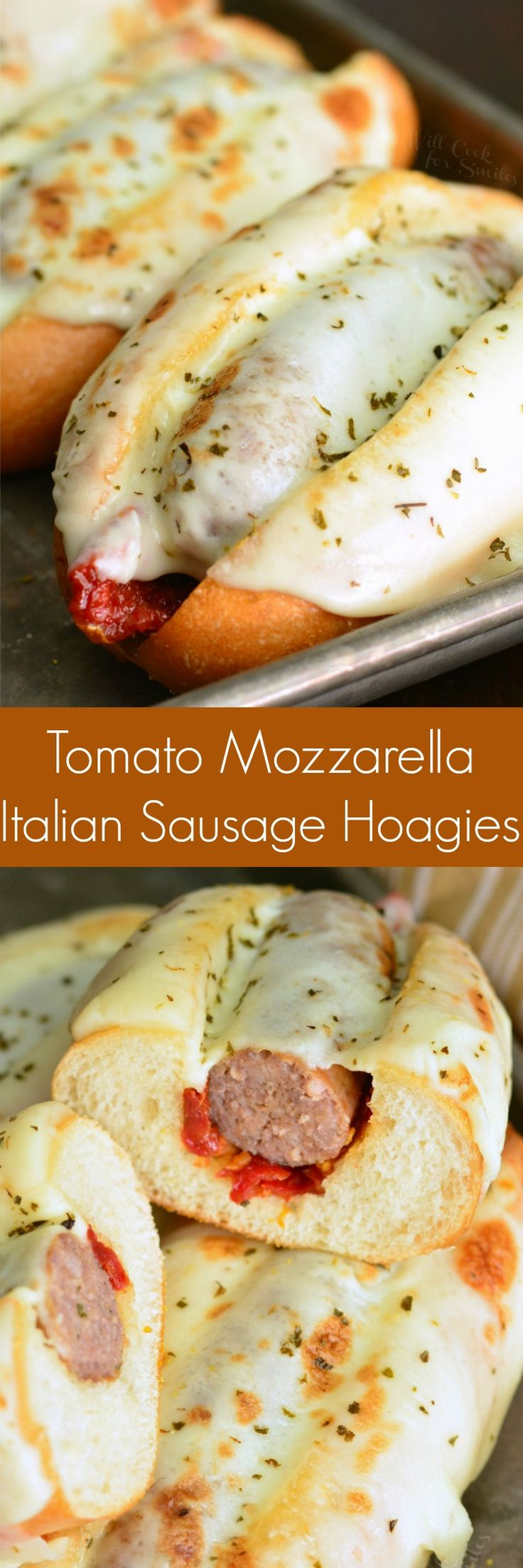 Tomato Mozzarella Italian Sausage Hoagies. These simple sausage hoagies are made with only 5 ingredients but taste AMAZING. #sausagesandwich #hoagies