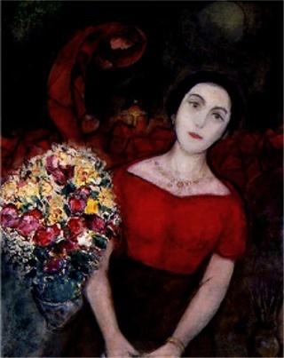샤갈 - 바바의 초상  샤갈의 첫째 부인은 벨라였다. 하지만 그녀가 이른 죽음을 맞이 한 뒤 샤갈은 두번째 아내를 맞이 하였는데 그녀가 바로 이 그림의 주인공 바바이다. 색체를 사랑했던 샤갈은 그녀의 드레스또한 강렬한 붉은 색을 사용하였다. 그녀를 그만큼 사랑한다는 표시로 붉은 색을 칠했던 것일까. 그녀이 옆에 있는 꽃송이들 조차 강렬한 사랑을 담고 있듯이 붉은색이다. 프랑스로 오 이후에도 고향을 그리워 하며 작품활동을 한 샤갈은 현실ㅇ르 도피하고 싶었는지 상상화 같은 표현, 꿈같은 표현을 많이 한것같다. 그의 첫째부인 벨라와 산책하는 것을 그린 <산책>에서도그의부인을 핫핑크 드레스를 입혀 하늘위에 두둥실 떠올린 것처럼 바바역시 그의 색체에 물들여 사랑을 입고있는한 붉은 색에 쌓여있는지도 모른다.