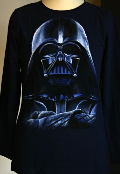 "Darth Vader hand painted boy's t shirt, from the ""Star Wars"" movie. The colors are non-toxic, water based, permanent fabric colors."