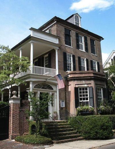 173 best georgian federal greek revival design images on for Charleston side house plans