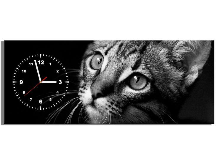 Kotek - zegar na ścianę 100x40 OBRAZY Z ZEGAREM Galeria obrazów Art Verde
