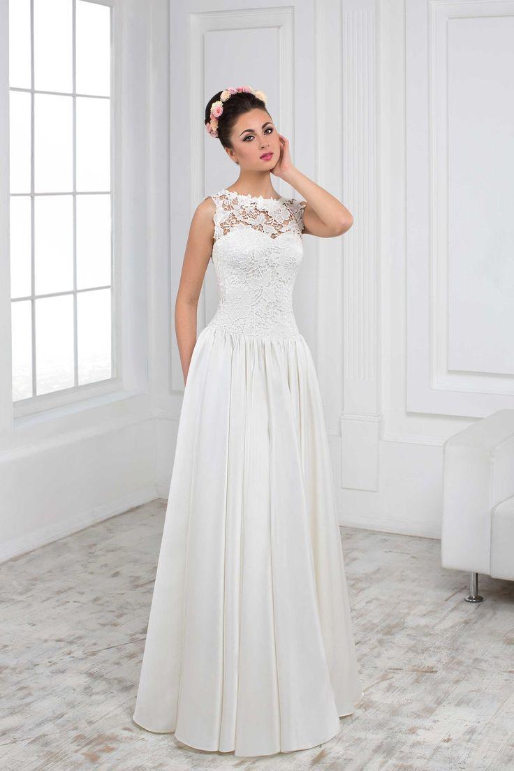 Jednoduché svadobné šaty s čipkovaným vrškom