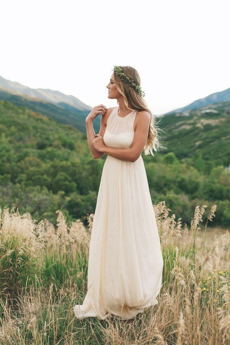 Ulass Simple A-line Chiffon Short Sleeve Floor-length Beach Wedding Dress Scoop Neckline Summer Bride Gown