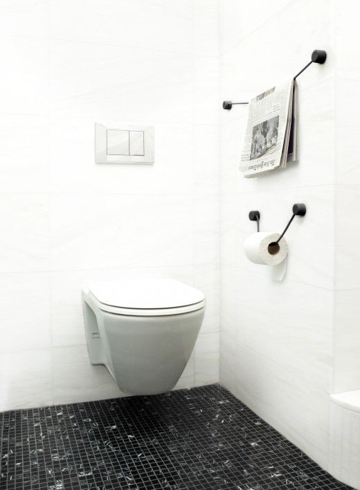 The Hanging Line: Paper Holders, Clean Floors, Toilets Paper Rolls, Design Ideas, Interiors Design, Josh Owens, Owens Hanging, White Bathroom, Bathroom Goodies