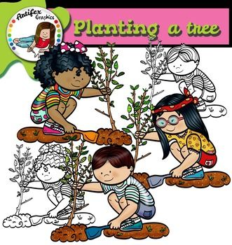 Planting a tree clip art set features 6 items: 3 graphics in color. 3 graphics in black & white.All images are 300 dpi, Png files.This clipart license allows for personal, educational, and commercial small business use. If using commercially, or in a freebie, credit to my store by a link is required and appreciated.