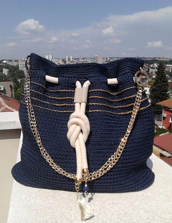 Crochet Navy Bag-Rope Tote Bag-Dark Blue bucket bag-Crochet Shoulder Bag-Summer Bag-Drawstring bag
