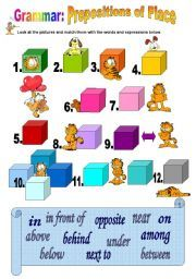 English teaching worksheets: Prepositions of place