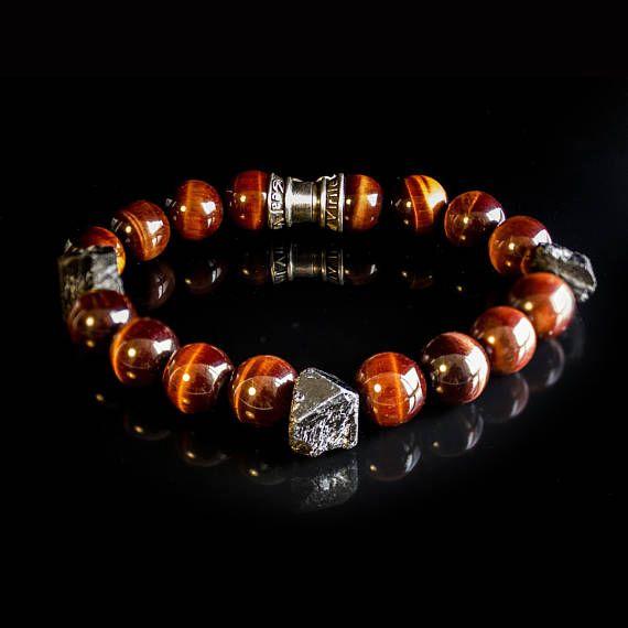Red tiger eye Black Tourmaline Bracelet Unisex jewelry