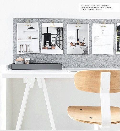Werkplek inspiratie | Een plaat bekleed met vilt vormt ideale plek voor al je inspirerende afbeeldingen | DIY | Interieurtip van www.vialin.nl