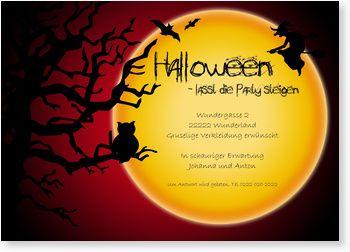 """Einladungskarte zur Halloween-Party - """"Großer Mond"""""""