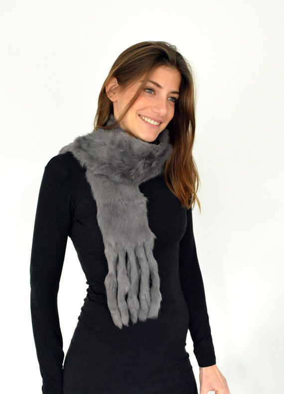 Women's Handmade Dark Gray Fur scarf made with Rabbit by lefushop