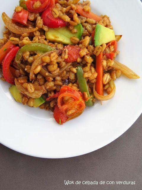 Cocinax2. Las recetas de Laurita.: Wok de cebada y verduras