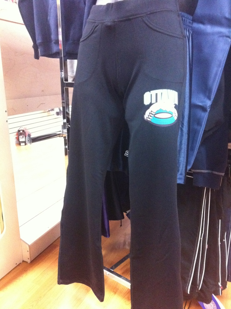 Awesome Yoga pants with your logo heatpressed on. Stylish, comfy and a force to be reckoned with if a team showed up all in matching yoga's!! www.lightningblade.com