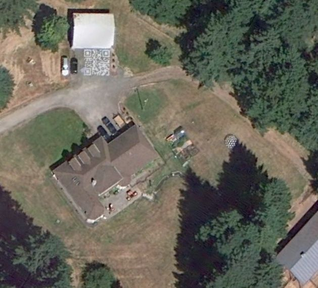 The QR Code driveway (unfinished) on Google Maps/Earth by Eric Rice, via Flickr