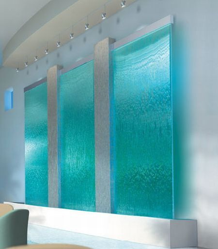 This Is A Great Water Feature Inside The Home Up Lighting Changing Colors Divine Art On Glass