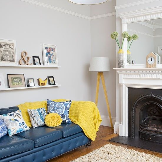 especially the wall color  Neutral Living Room with electric blue sofa | housetohome.co.uk