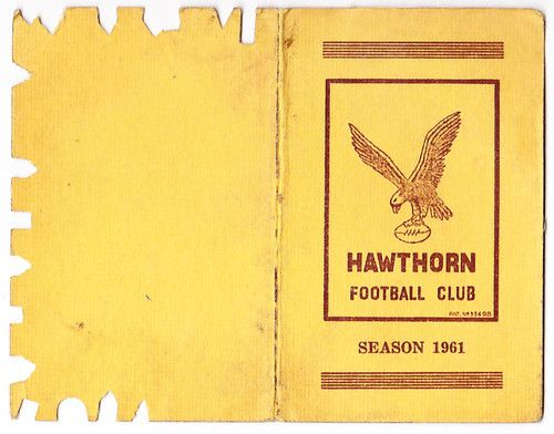 Rare 1961 Hawthorn Hawks Football Club Membership Ticket 1st Premiership | eBay