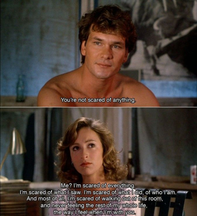 Dirty Dancing.one of my favorite movies! Scene makes me warm and fuzzy and sad at the same time Youre wild!! XD