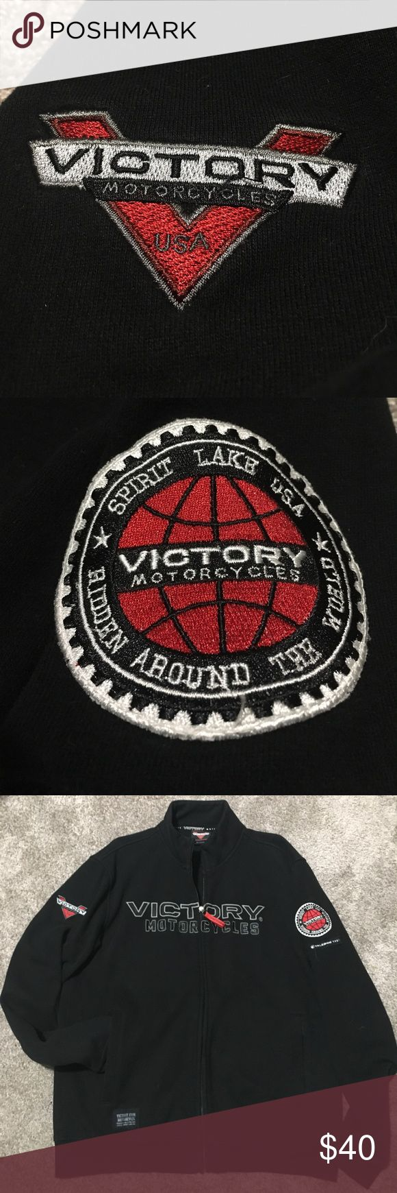 Victory Motorcycle 🏍 zip up Unisex zip up Victory jacket. Like new! Very warm cozy sweatshirt material. Victory Jackets & Coats