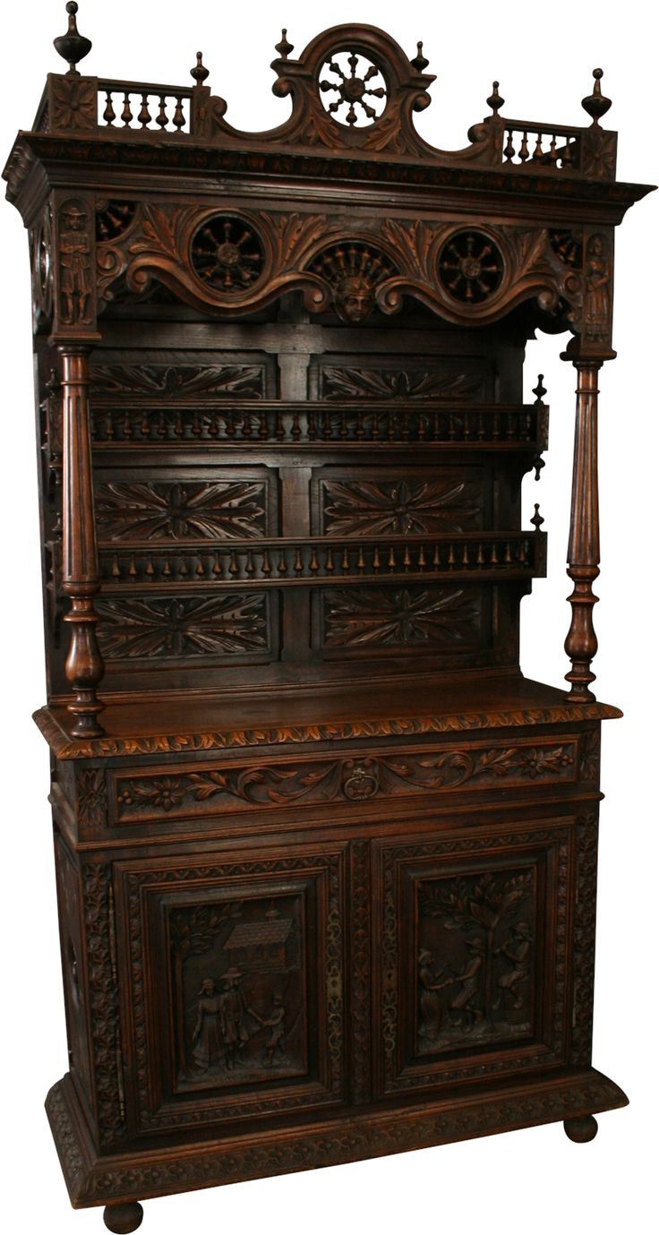 1890 Vaisselier Antique French Brittany Buffet, Chestnut Figures Ship Wheels #French #Furniture #Chestnut #Vaisselier #Brittany #Antique #Vintage