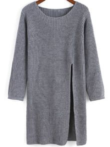 Grey Round Neck Split Knit Sweater