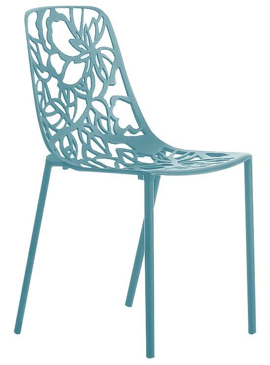 Cast Magnolia stoel zonder armleuning oceaan blauw  Uniek design stapelbaar en geschikt voor zowel binnen als buiten.  Zeer comfortabel sterk en stabiel.  Gegoten uit aluminium en standaard voorzien van een zwarte of witte poedercoating.  Hoogte rugleuning: 80cm  Breedte rugleuning: 54cm  Diepte rugleuning: 475cm  Zithoogte: 44 cm  EUR 198.95  Meer informatie
