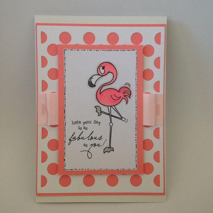Pink flamingo and polka dots, a fun combination. Hand coloured.