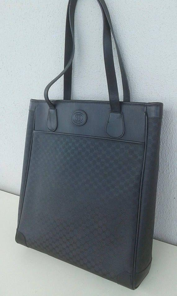 b451c7efc533 Gucci vintage black tote   shopper bag  satchel