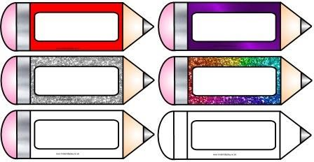 Free printable pencil accents.  Could be used as bookmarks, name-tags, tray labels etc.  Includes solid colour, metallic, glitter and two types of blank pencils which children could decorate for their own label.  Each pencil can be sized separately.