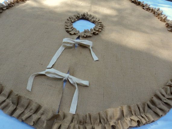 Burlap Tree Skirt Red Christmas Tree Skirt  French Farmhouse Modern Country Decor. $68.00, via Etsy.