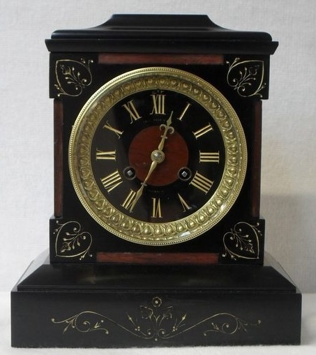 Antique Black Slate and Marble Mantel Clock