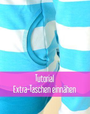 Extra Taschen zusätzlich nähen Schnittmuster download kostenlos Anleitung Tutorial