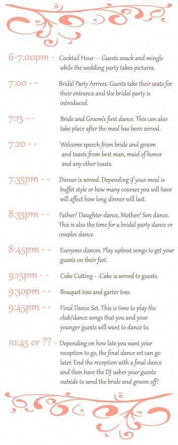 Sample Wedding Reception Timeline Wedding Planning Weddi