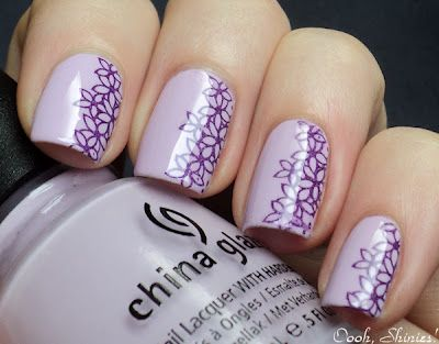 purple on purpleKonad Plates, Nails Art, Nails Design, China Glaze, Flower Nails, Colors Club, Half Stamps, Wild At Heart, Purple Flower